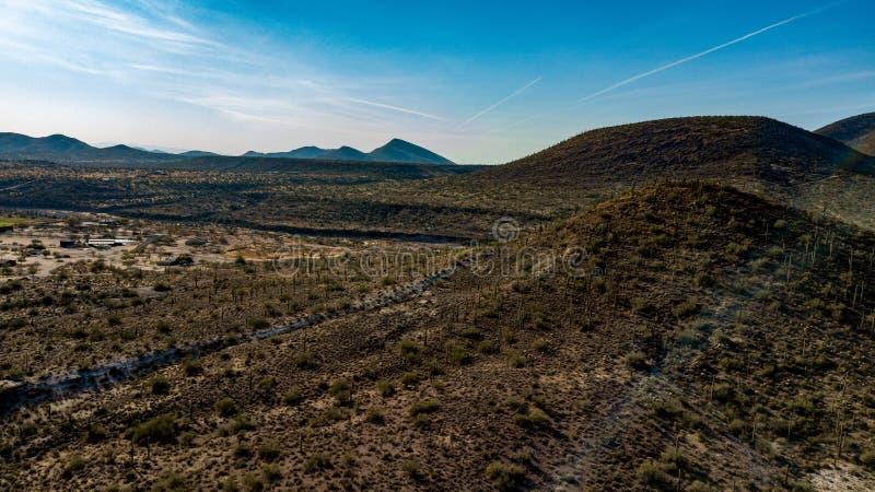 Vista aérea del parque regional del rancho de la cruz del estímulo cerca de la cala de la cueva, Arizona fotos de archivo libres de regalías