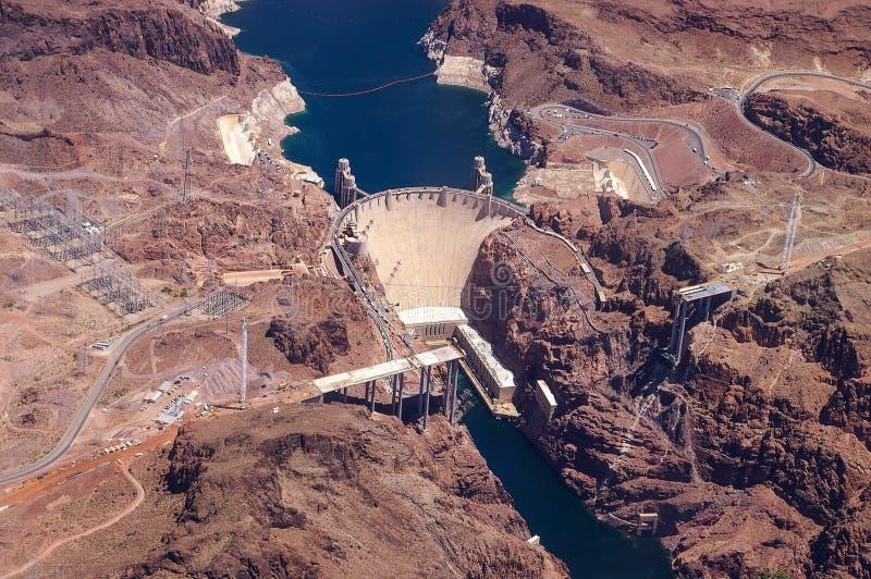Vista aérea del Preso Hoover y del río Colorado fotografía de archivo
