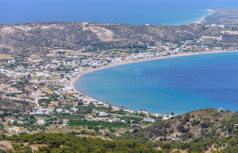 Vista aérea del pueblo de Kefalos fotografía de archivo