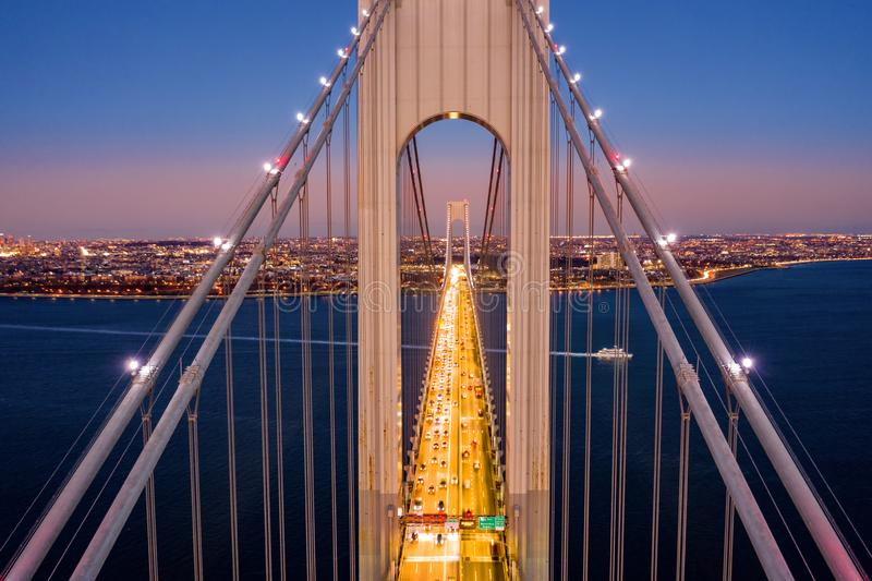Vista aérea del puente de los estrechos de Verrazzano fotografía de archivo libre de regalías