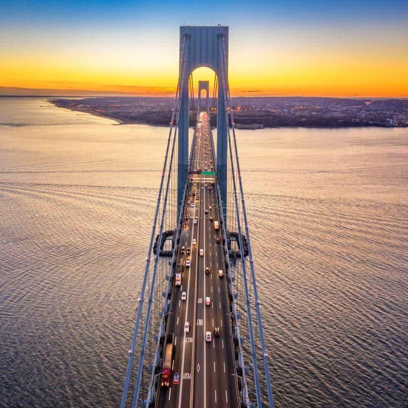 Vista aérea del puente de los estrechos de Verrazzano foto de archivo libre de regalías
