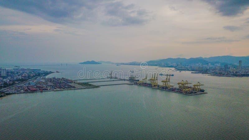 Vista aérea del puerto cerca del Lumut Perak fotografía de archivo
