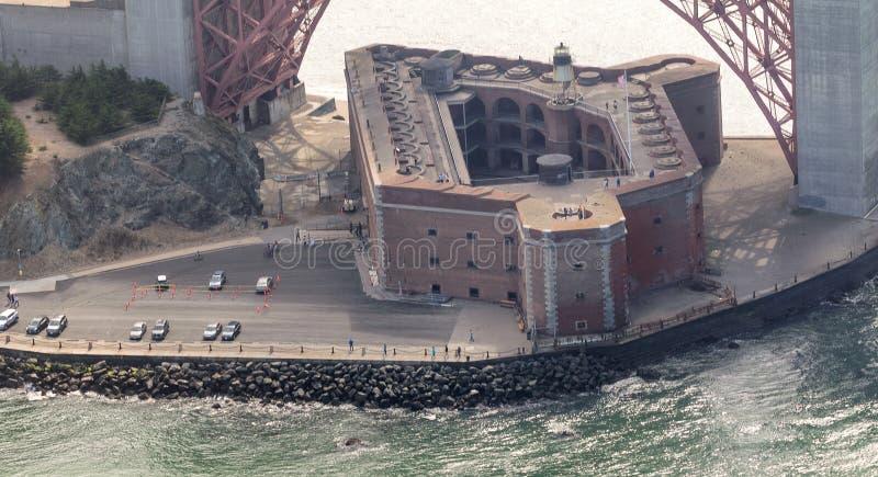 Vista aérea del punto del fuerte debajo de puente Golden Gate, San Francisc fotos de archivo libres de regalías