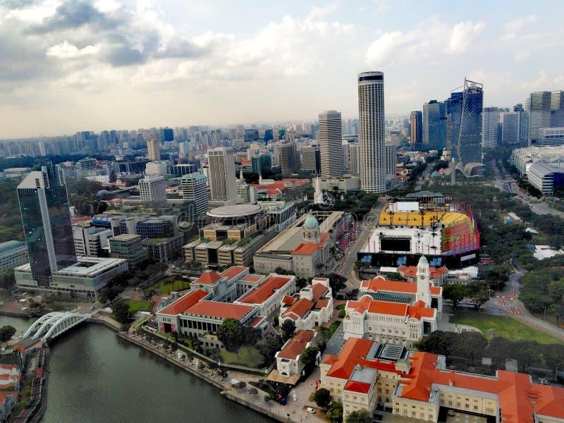 Vista aérea del río de Singapur imagen de archivo