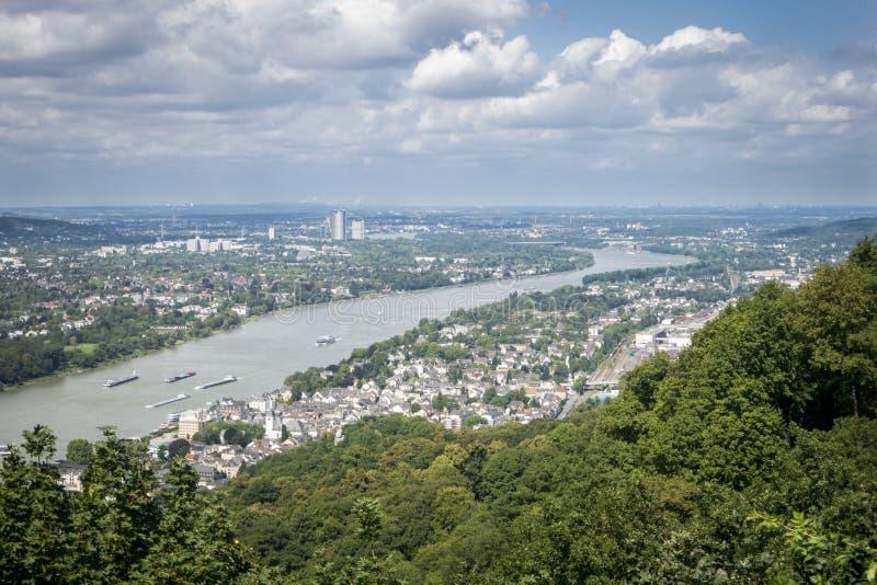 Vista aérea del río el Rin, Alemania imagenes de archivo