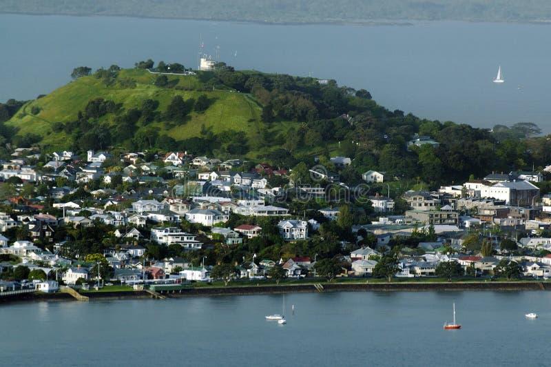 Vista aérea del soporte Victoria Devonport Auckland New Zealand foto de archivo
