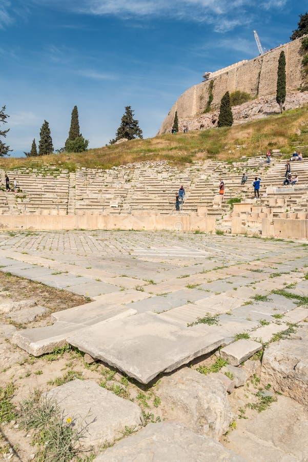 Vista aérea del teatro de Dionysus en Atenas, Grecia imagenes de archivo