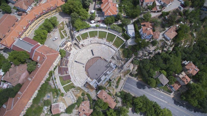 Vista aérea del teatro romano antiguo en Plovdiv, Bulgaria fotos de archivo