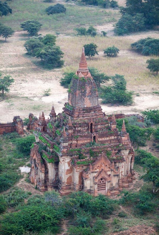 Vista aérea del templo antiguo en Bagan, Myanmar fotografía de archivo libre de regalías