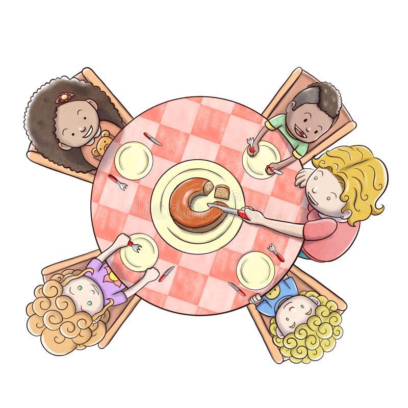Vista aérea do bolo do serviço da mãe a um grupo de crianças - fundo branco ilustração do vetor
