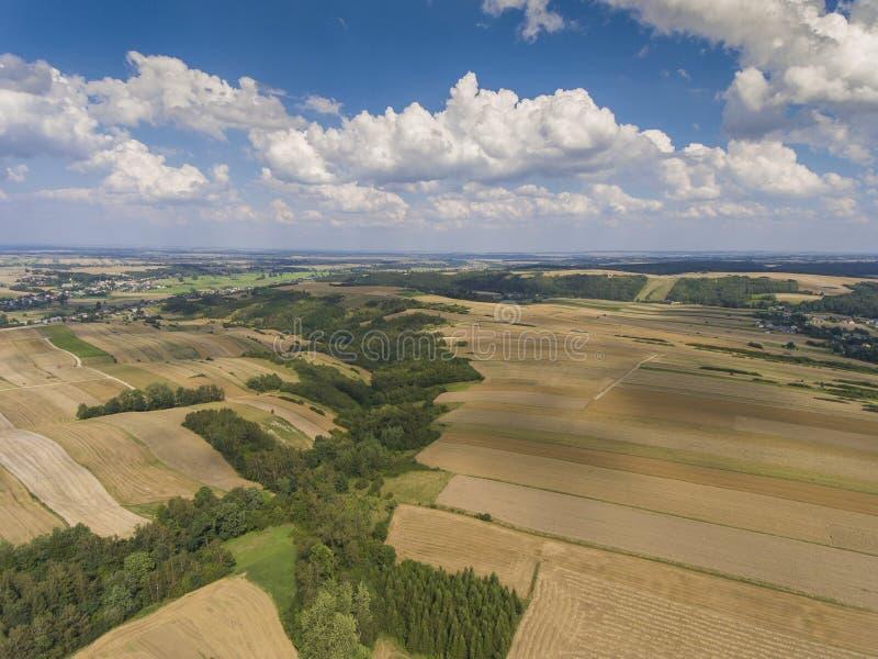 A vista aérea do céu azul e a vila colhem campos no verão fotos de stock