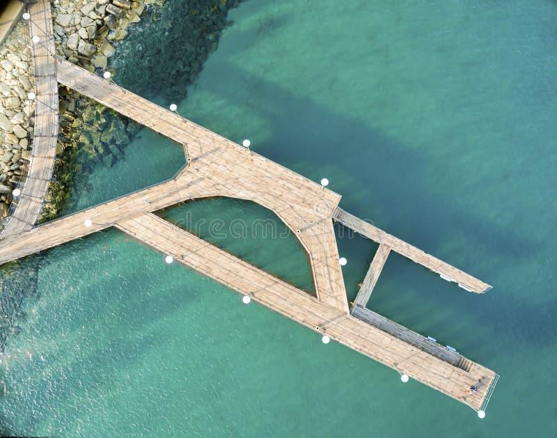 Vista aérea do cais de Molos, Limassol, Chipre imagens de stock