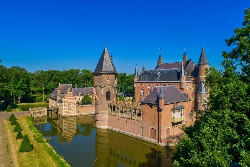 Vista aérea do castelo de Heeswijk fotografia de stock royalty free