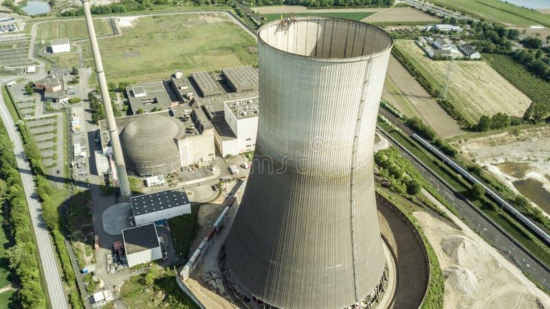 Vista aérea do central nuclear desarmado Muelheim fotografia de stock royalty free