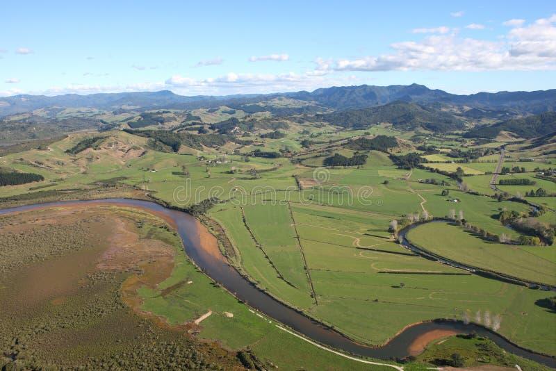 Vista aérea do Coromandel Peninsular fotografia de stock royalty free