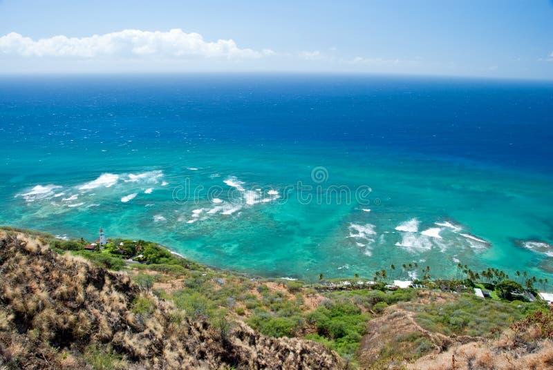 Vista aérea do farol da cabeça do diamante com o oceano dos azuis celestes no backg foto de stock royalty free