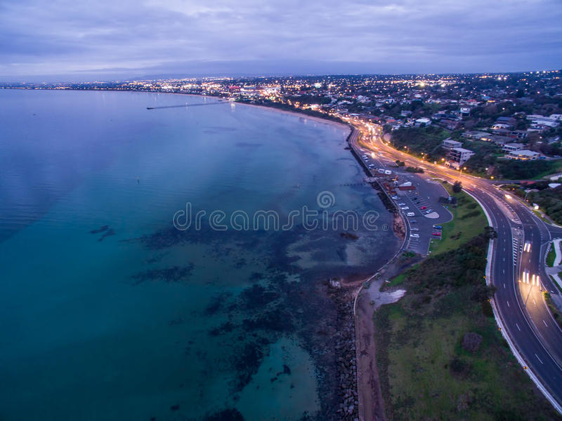 Vista aérea do foreshore de Frankston no crepúsculo imagem de stock
