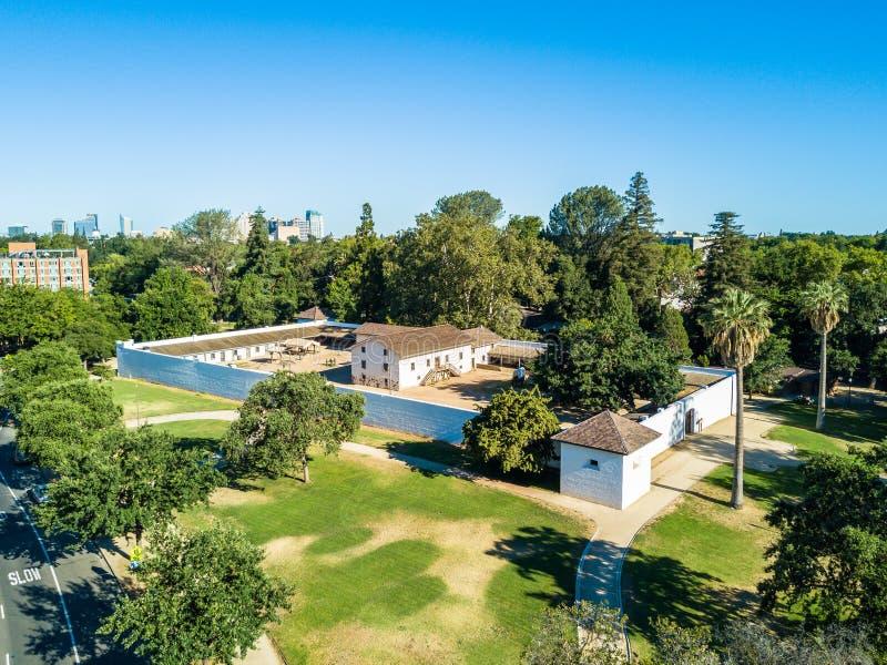 Vista aérea do forte do ` s de Sutter em Sacramento fotos de stock royalty free