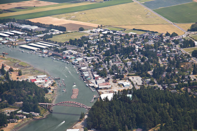 Vista aérea do La Conner Washington fotos de stock royalty free