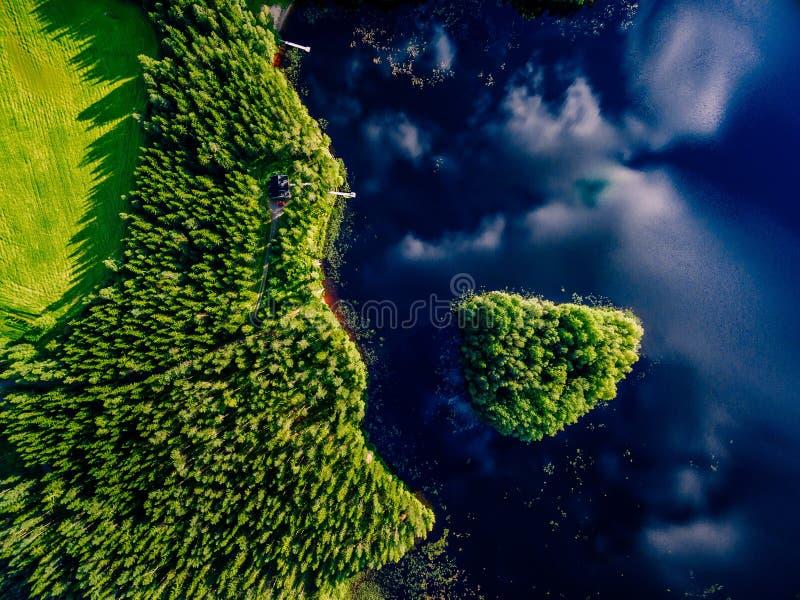 Vista aérea do lago azul com ilha e as florestas verdes em um dia de verão ensolarado em Finlandia fotos de stock
