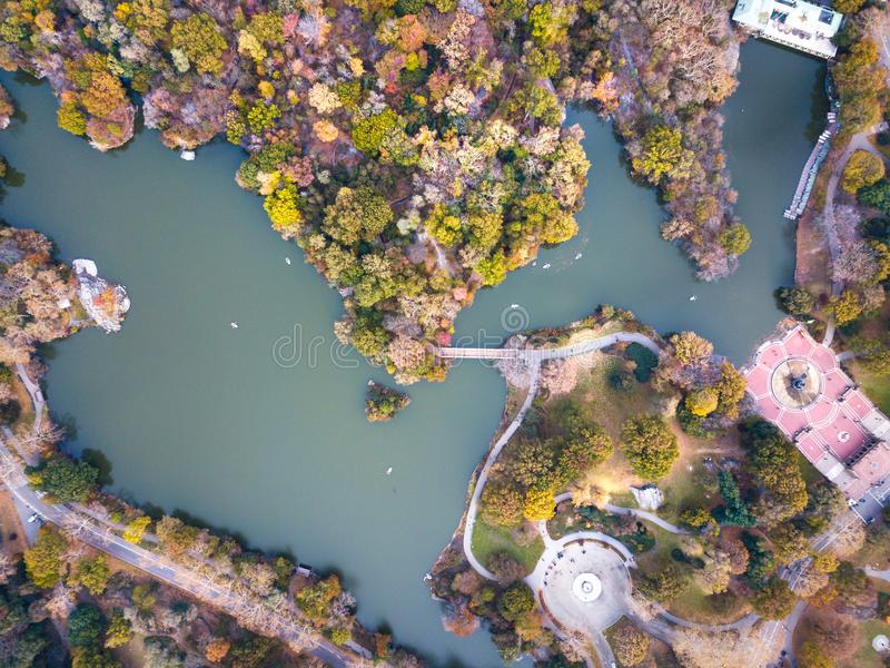 Vista aérea do lago central park no outono imagens de stock royalty free