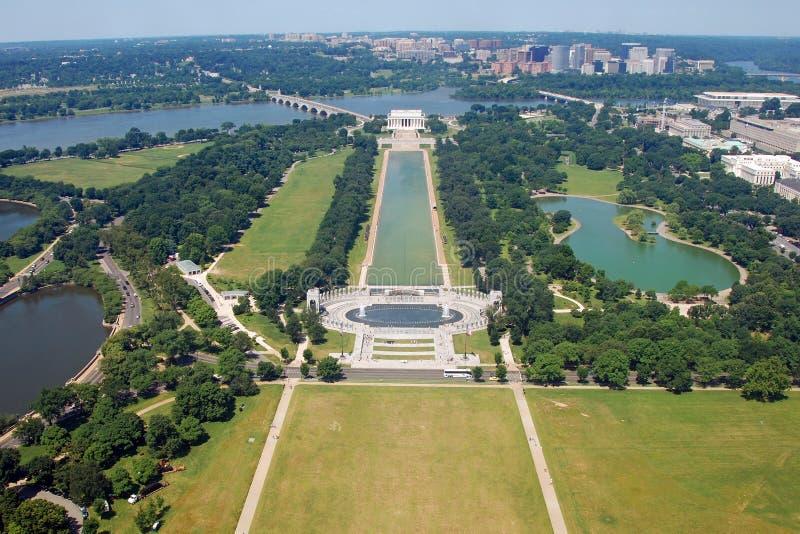 Vista aérea do memorial de Lincoln no Washington DC fotografia de stock