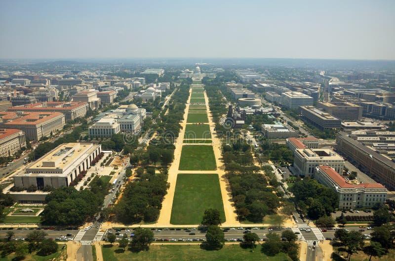 Vista aérea do monumento de Washington foto de stock
