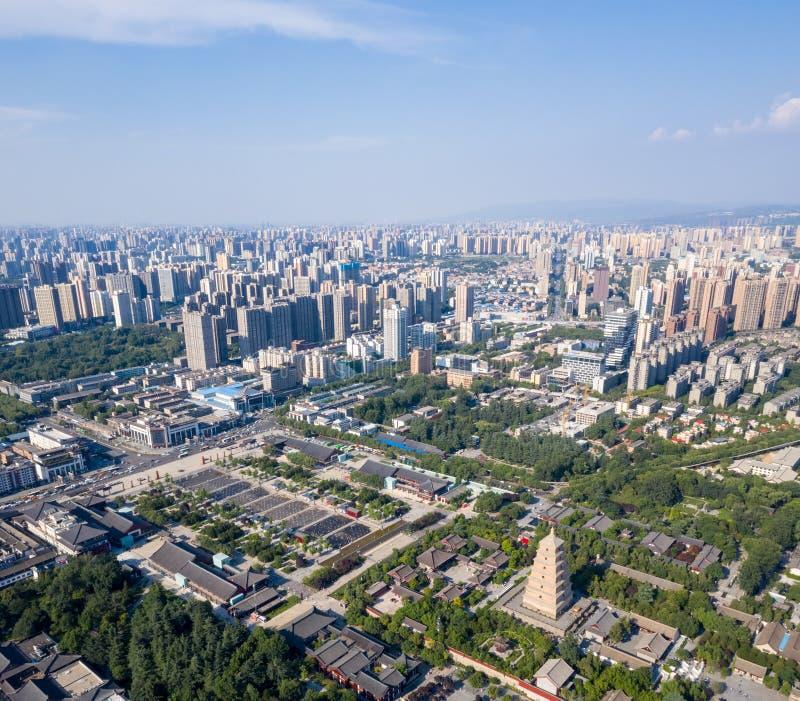 Vista aérea do pagode selvagem do ganso de xian fotografia de stock