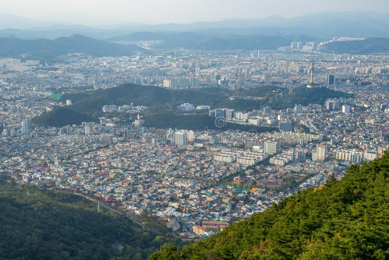 Vista aérea do parque aspan de daegu, Coreia do Sul imagem de stock royalty free