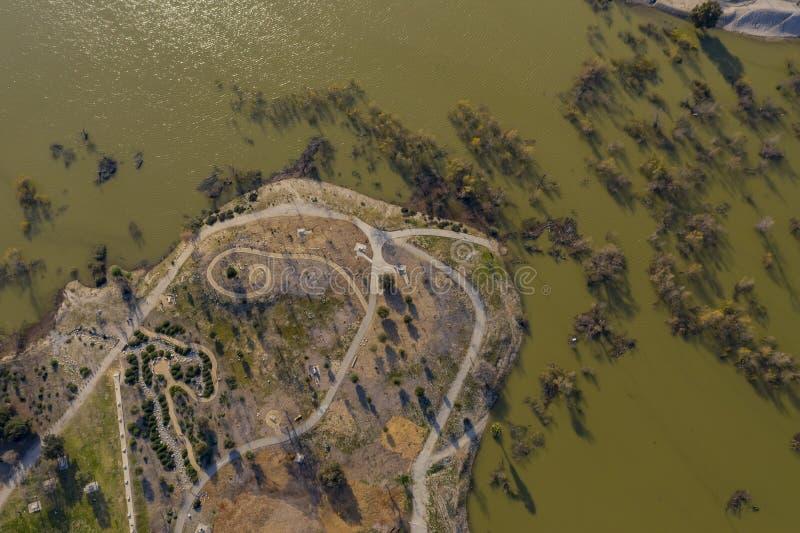 Vista aérea do parque bonito da estrada da beijoca imagens de stock royalty free