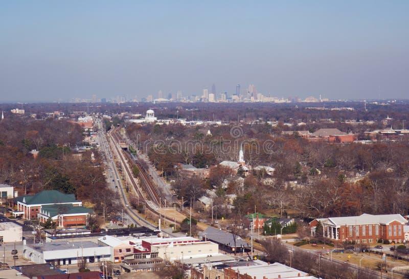 Vista aérea do parque da faculdade e da Atlanta, Geórgia imagem de stock