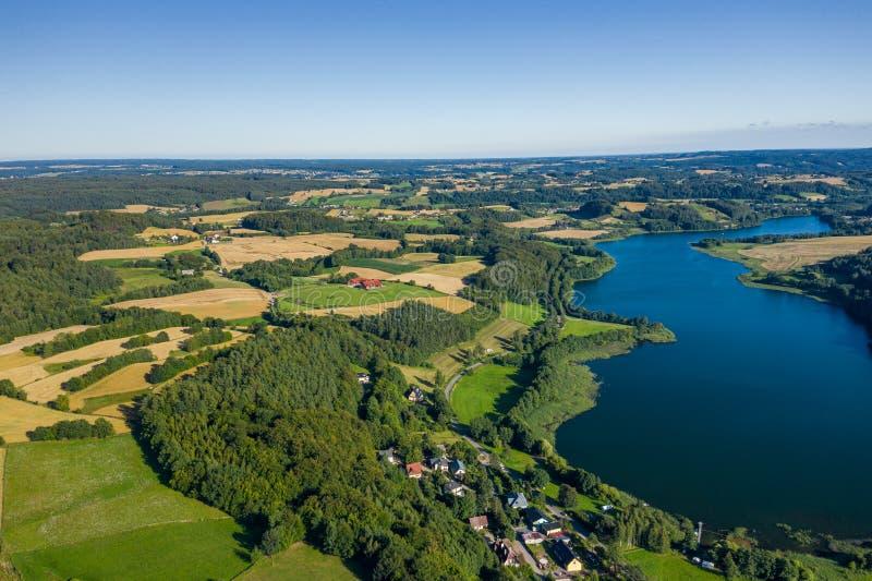 Vista aérea do parque da paisagem de Kashubian Kaszuby poland Foto feita pelo zang?o de cima de Opini?o de olho de p?ssaro imagens de stock
