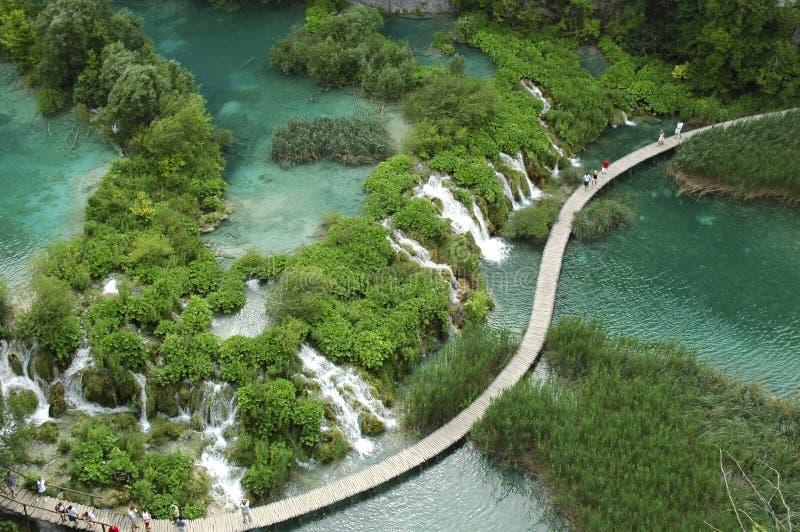Vista aérea do parque nacional de Plitvice imagens de stock royalty free