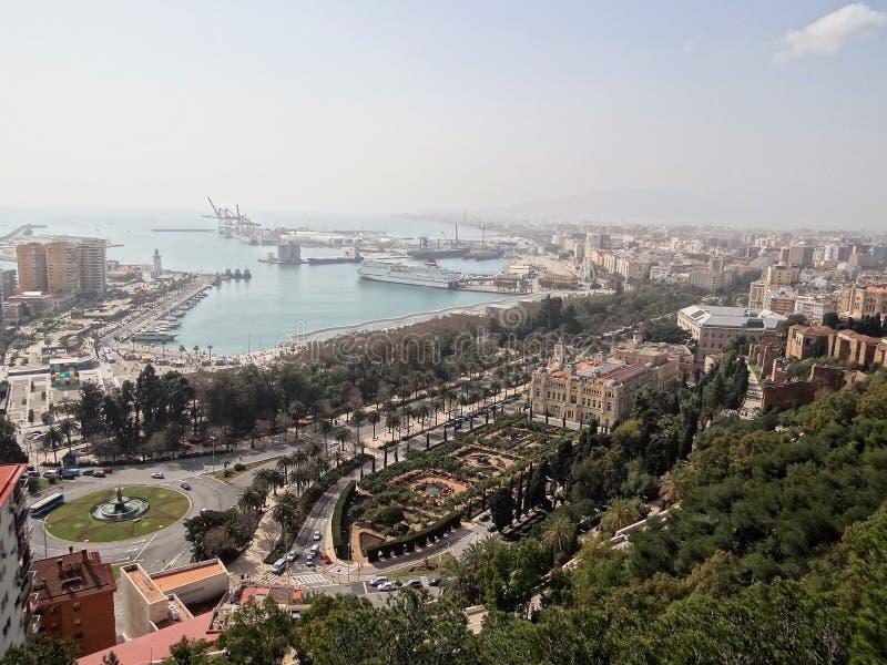 Vista aérea do porto de Malaga foto de stock