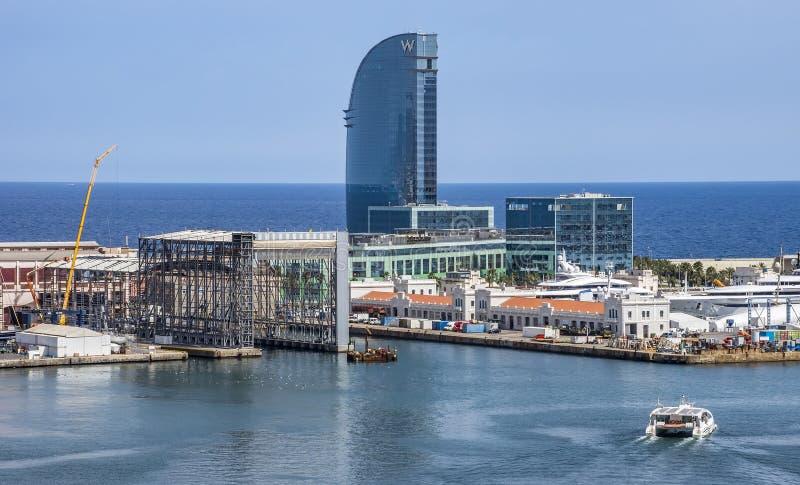 Vista aérea do porto Vell em Barcelona fotos de stock royalty free