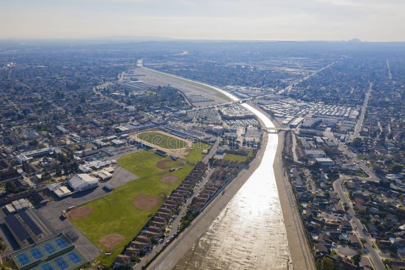Vista aérea do rio bonito de Rio Hondo fotografia de stock