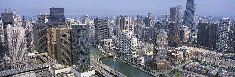 Vista aérea do rio de Chicago fotos de stock royalty free