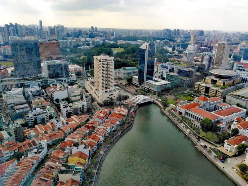 Vista aérea do rio de Singapura na área central fotografia de stock royalty free