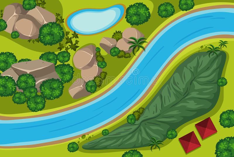 Vista aérea do rio e do parque ilustração stock