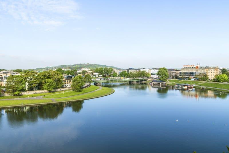 Vista aérea do rio Vistula em Krakow fotos de stock royalty free