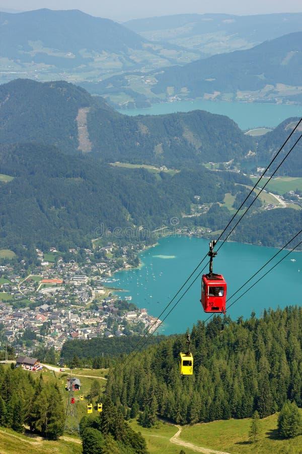 Vista aérea do St Wolfgang do lago, Áustria