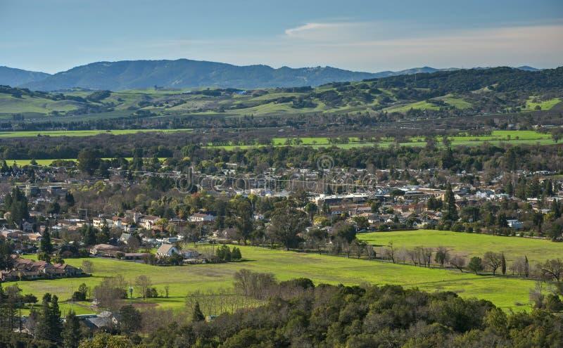 Vista aérea do vale de Sonoma em Sunny Afternoon imagem de stock