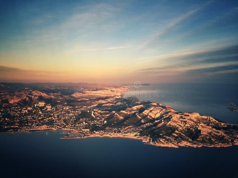 Vista aérea dos Calanques foto de stock royalty free