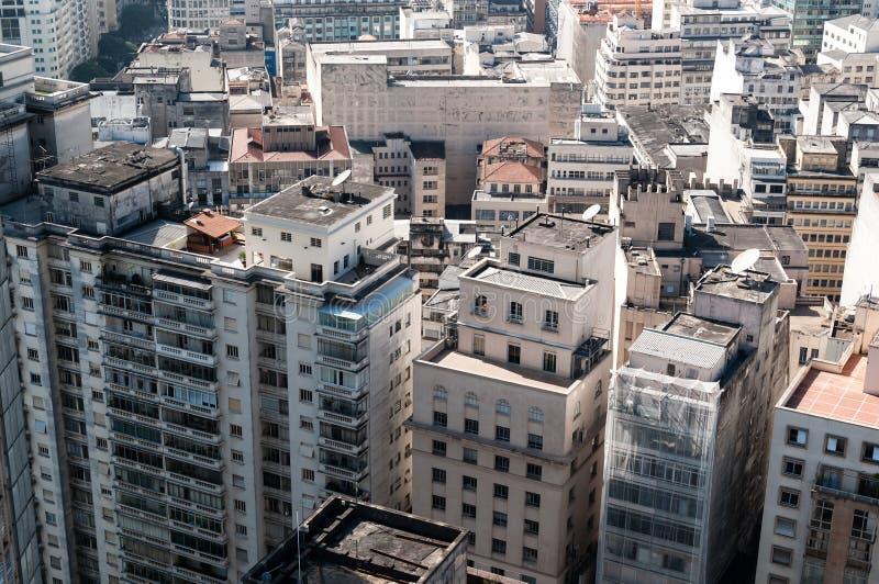Vista aérea dos edifícios na cidade de Sao Paulo. imagem de stock