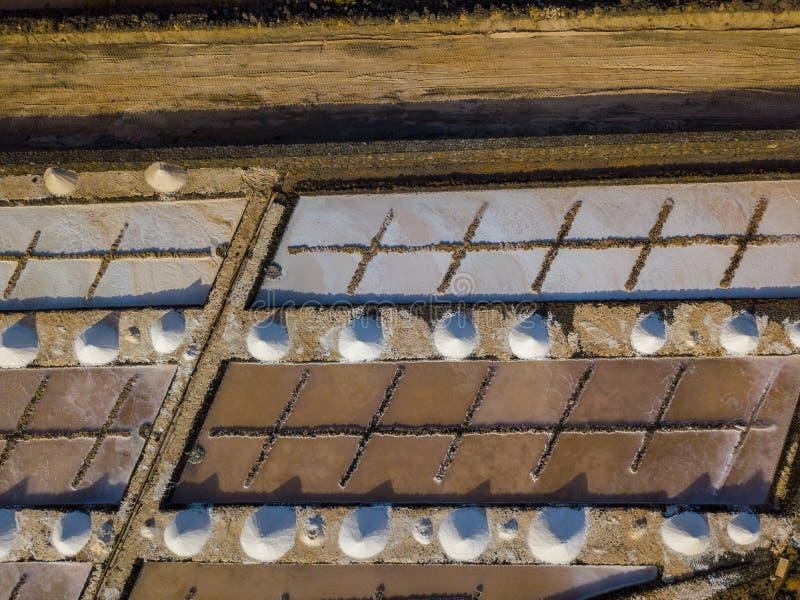Vista aérea dos planos de sal de Janubio, Lanzarote, Ilhas Canárias, Espanha fotografia de stock royalty free