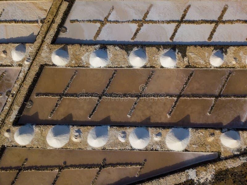 Vista aérea dos planos de sal de Janubio, Lanzarote, Ilhas Canárias, Espanha fotos de stock