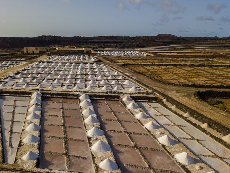 Vista aérea dos planos de sal de Janubio, Lanzarote, Ilhas Canárias, Espanha foto de stock royalty free