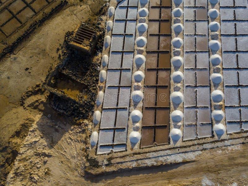 Vista aérea dos planos de sal de Janubio, Lanzarote, Ilhas Canárias, Espanha imagens de stock royalty free