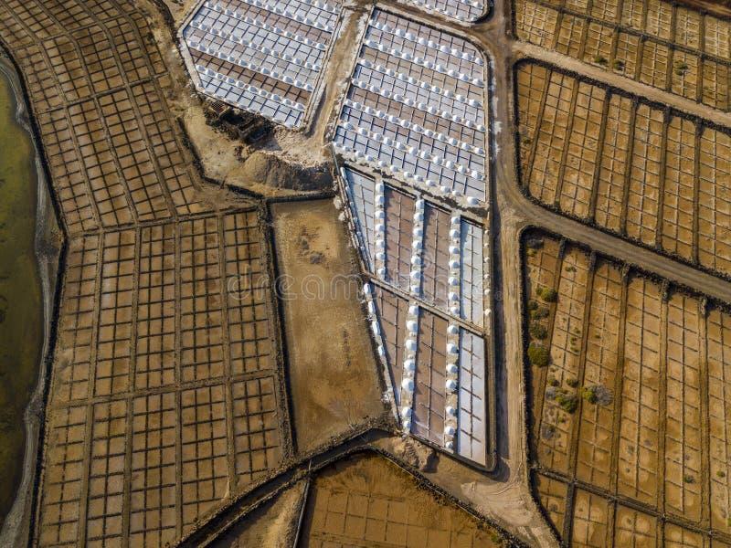 Vista aérea dos planos de sal de Janubio, Lanzarote, Ilhas Canárias, Espanha imagem de stock