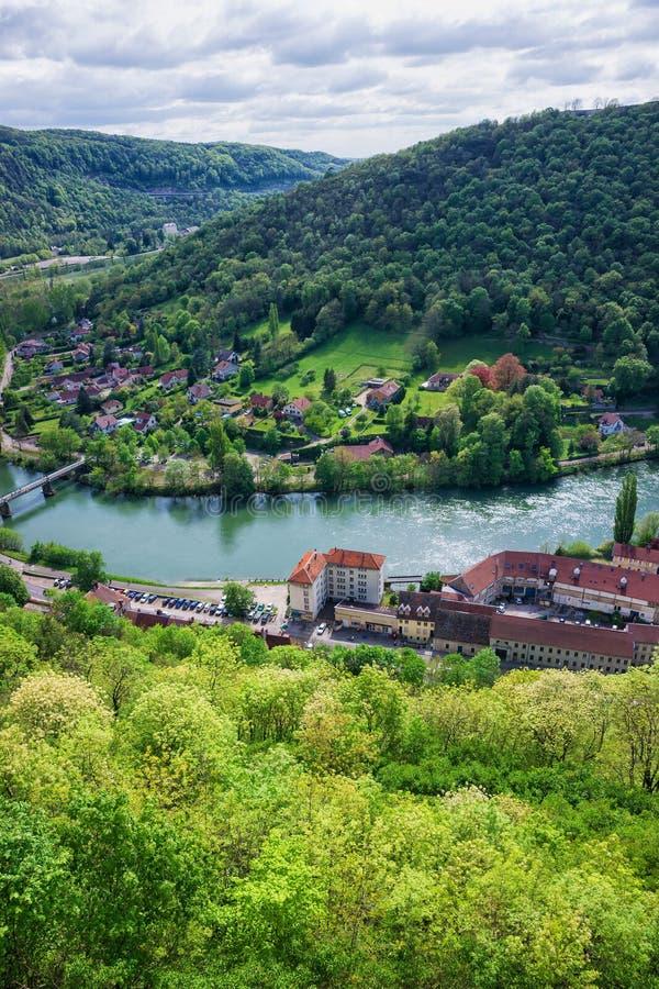 Vista aérea em Besancon na região França de Bourgogne Franche Comte imagem de stock